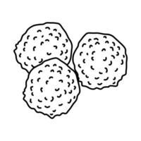 icona di polpette di bisonte. Doodle disegnato a mano o icona stile contorno vettore