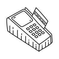icona di pagamento con carta di credito. Doodle disegnato a mano o icona stile contorno vettore