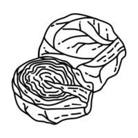 icona di cavoletti di Bruxelles. Doodle disegnato a mano o icona stile contorno