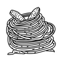 icona di bucatini alla bottarga. Doodle disegnato a mano o icona stile contorno