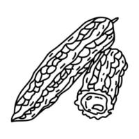 icona di melone amaro. Doodle disegnato a mano o icona stile contorno