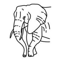 icona di elefante. Doodle disegnato a mano o icona stile contorno vettore