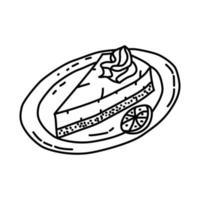 icona di torta di lime chiave. Doodle disegnato a mano o icona stile contorno vettore