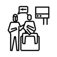 icona di esame di laboratorio continuato. simbolo di attività o illustrazione per affrontare il virus corona vettore