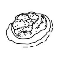 icona di isola tropicale. Doodle disegnato a mano o icona stile contorno vettore