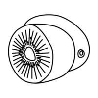 icona tropicale di kiwi. Doodle disegnato a mano o icona stile contorno vettore
