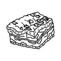 icona di lasagne alla bolognese. Doodle disegnato a mano o icona stile contorno vettore