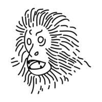 icona di tamarino leone dorato. Doodle disegnato a mano o icona stile contorno vettore