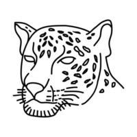 icona di giaguaro. Doodle disegnato a mano o icona stile contorno vettore