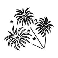 icona di fuochi d'artificio. Doodle disegnato a mano o icona stile contorno vettore