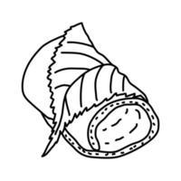 icona di matcha. Doodle disegnato a mano o icona stile contorno vettore