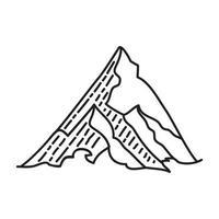 icona tropicale di montagna. Doodle disegnato a mano o icona stile contorno