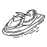 icona di jet ski. Doodle disegnato a mano o icona stile contorno vettore
