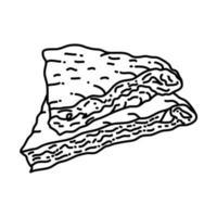 icona mutabbaq. Doodle disegnato a mano o icona stile contorno vettore