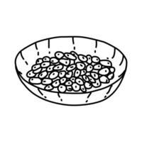icona di natto. Doodle disegnato a mano o icona stile contorno vettore