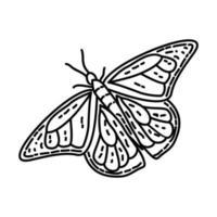 icona della farfalla monarca. Doodle disegnato a mano o icona stile contorno vettore