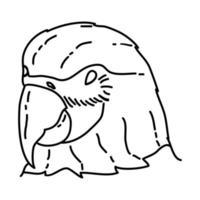 icona tropicale del pappagallo. Doodle disegnato a mano o icona stile contorno