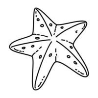 icona tropicale di stelle marine. Doodle disegnato a mano o icona stile contorno vettore