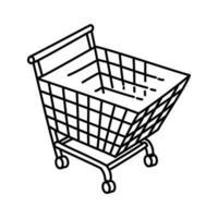 icona del grafico dello shopping. Doodle disegnato a mano o icona stile contorno vettore