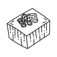 icona di tofu. Doodle disegnato a mano o icona stile contorno