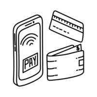 icona dei metodi di pagamento. Doodle disegnato a mano o icona stile contorno vettore