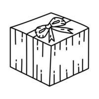 icona presente. Doodle disegnato a mano o icona stile contorno vettore