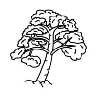 icona albero tropicale. Doodle disegnato a mano o icona stile contorno vettore
