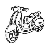 icona di scooter. Doodle disegnato a mano o icona stile contorno vettore