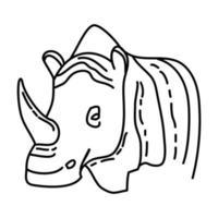 icona tropicale di rinoceronte. Doodle disegnato a mano o icona stile contorno vettore