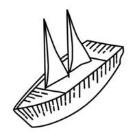 icona tropicale di barca a vela. Doodle disegnato a mano o icona stile contorno