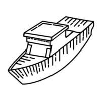 icona della nave. Doodle disegnato a mano o icona stile contorno