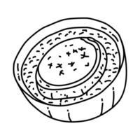 icona di soupe al 'oignon. Doodle disegnato a mano o icona stile contorno vettore