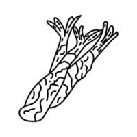 icona di tempura. Doodle disegnato a mano o icona stile contorno