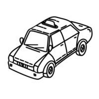 icona di taxi. Doodle disegnato a mano o icona stile contorno vettore