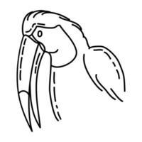 icona di toco tucano. Doodle disegnato a mano o icona stile contorno vettore