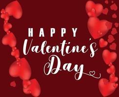 design di San Valentino con cuori rossi e sfondo vettore