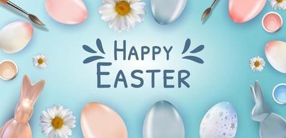 modello di poster di Pasqua con uova di Pasqua realistiche 3d. modello per pubblicità, poster, flyer, biglietto di auguri. illustrazione vettoriale