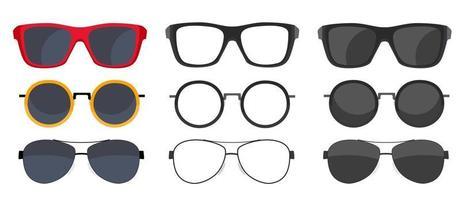 raccolta di occhiali da sole icone isolato su sfondo bianco vettore
