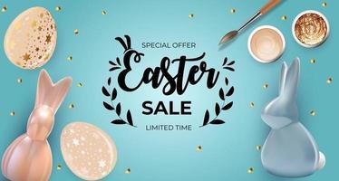 modello del manifesto di vendita di Pasqua con uova di Pasqua realistiche 3d e vernice. modello per pubblicità, poster, flyer, biglietto di auguri.