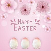 colore rosa del modello del manifesto di Pasqua con le uova di Pasqua realistiche 3d