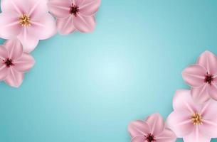 realistica bella primavera 3d ed estate sfondo fiore rosa. illustrazione vettoriale