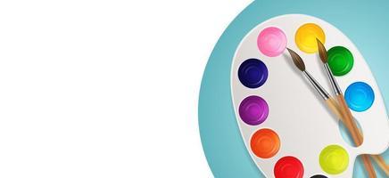 barattoli di vernice con pennello e tavolozza di arte su sfondo bianco vettore