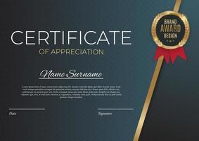 certificato del modello di realizzazione imposta lo sfondo con distintivo e bordo in oro. premio diploma design vuoto. illustrazione vettoriale
