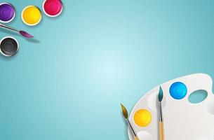 sfondo 3d realistico, barattoli di vernice con pennello e sfondo arte tavolozza