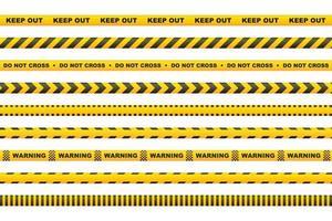 nastro di avvertenza con strisce gialle e nere vettore