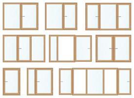 illustrazione di vettore di finestre in legno realistiche isolato su bianco
