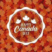carta di celebrazione del giorno del Canada con foglie di acero fogliame vettore