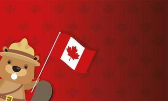 carta di celebrazione del giorno del Canada con castoro e bandiera vettore