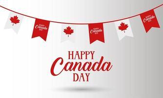 carta di celebrazione del giorno del canada con bandiera ghirlanda vettore