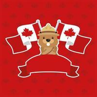 carta di celebrazione del giorno del Canada con castoro e bandiere vettore